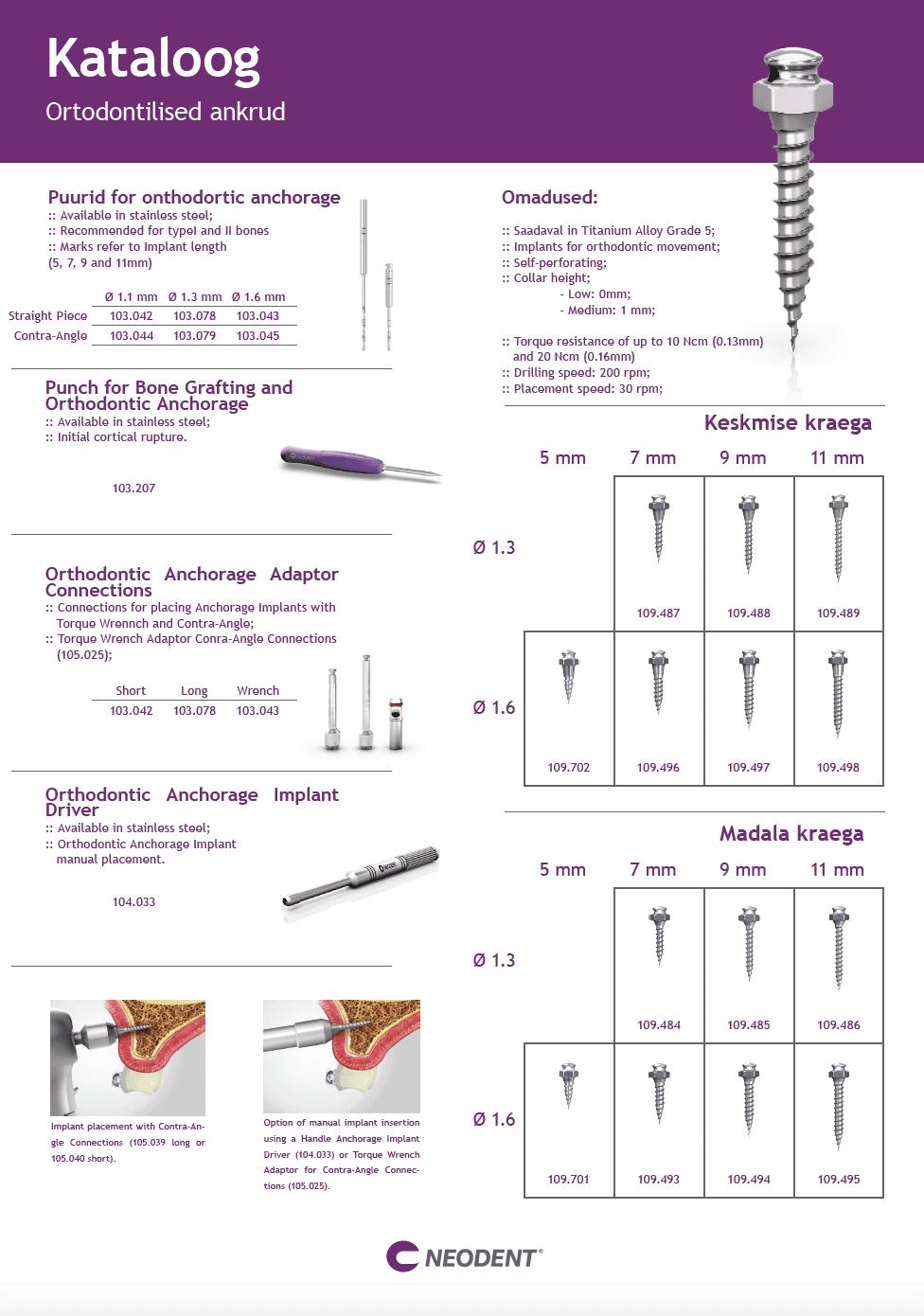 Neodent ortodontilised ankrud kataloog 2021